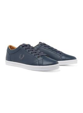 Chaussure Fred Perry Baseline Leather Marin Hombr