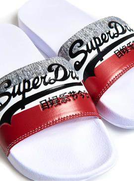 Tongs Superdry Logo Pool Blanc Homme