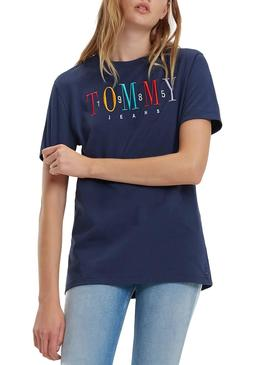 T-Shirt Tommy Jeans Embroidery Marin Femme