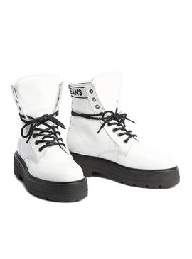 Bootss Tommy Jeans Foatform Blanc Cuir Verni Femme