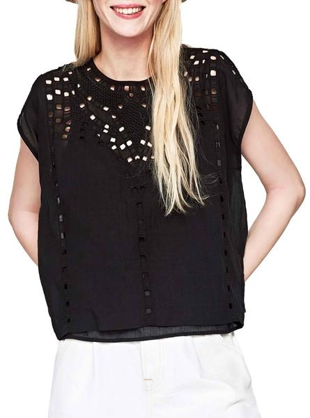Top Pepe Jeans Tanya Noire Femme