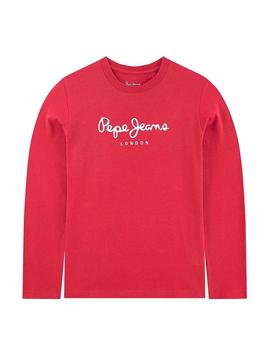 T-Shirt Jeans Pepe New Herman JR Rouge Enfante
