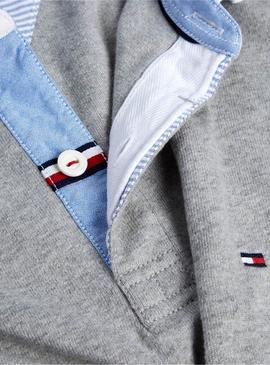 Polo Tommy Hilfiger Iconic Rugby Gris pour Homme