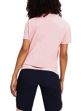 T-Shirt Tommy Jeans Badge Cropped Rose Femme