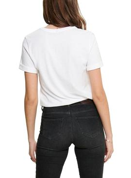 T-Shirt Only Mary Boxy Blanc Pour Femme