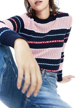Pull Tommy Jeans Logo Stripe Pink Pour Femme