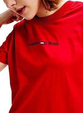 T-Shirt Tommy Jeans Linear Rouge Femme