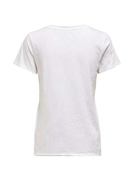 T-Shirt Only Brews V-Neck Blanc Femme