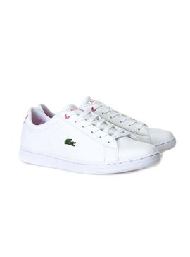 Baskets Lacoste Carnaby Evo Blanc Rose Fille