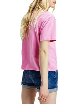 T-Shirt Tommy Jeans Logo Colored Rosa Femme