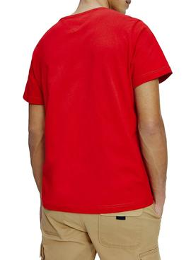 T-Shirt Logo Tommy Jeans Corp Rouge pour Homme