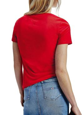 T-Shirt Logo Tommy Jeans Essential Rouge Femme
