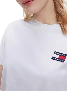 T-Shirt Tommy Jeans Badge Tee Blanc pour Femme